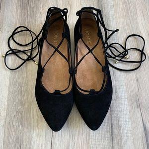 VIONIC Lucinda Black Suede Tie Leg Flats